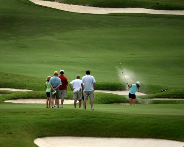 Stephanie Sherlock hits from one bunker to another during Saturday's semifinals against Jessica Korda. Korda won 4 & 3.