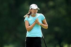 Stephanie Sherlock reacts to her putt at No. 8 during Saturday's semifinals. Jessica Korda defeated Sherlock 4 & 3.