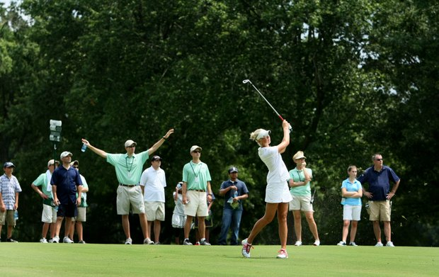 Jessica Korda hits a fairway shot during Saturday's semifinals. Korda defeated Stephanie Sherlock 4 & 3.