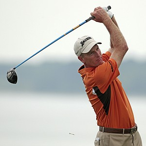Jim Furyk hits a drive on the fifth hole during the third round of the PGA Championship.