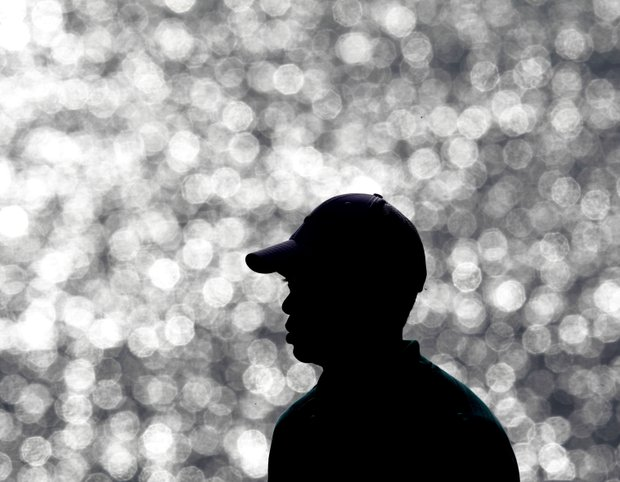 Tiger Woods waits to tee off on the 12th hole during the second round of the PGA Championship.
