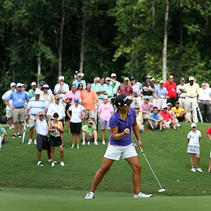 Danielle Kang birdies No. 16 during the first 18 holes of Sunday's finals.