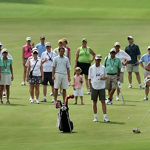 Jessica Korda hits her second shot into No. 13 during the first 18 holes of Sunday's finals.