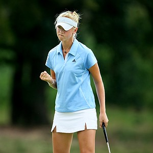 Jessica Korda reacts to birdie to gain a hole back at No. 15 during the first 18 holes of Sunday's finals.