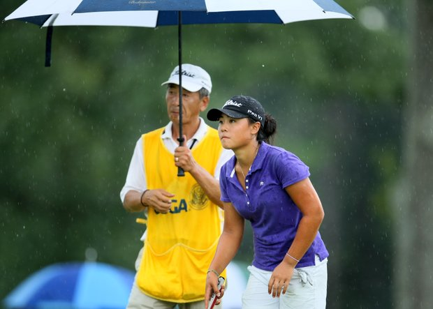 Danielle Kang at No. 8, her 26th hole, with her dad/caddie, K.S. Kang during Sunday's finals.