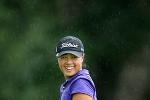 Danielle Kang at No. 8, her 26th hole, after making her par putt.
