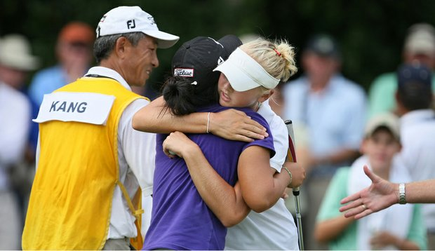 Jessica Korda hugs Danielle Kang after the final match of the U.S. Women's Amateur.