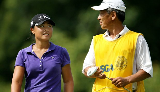 Danielle Kang and her father/caddie, K.S. Kang, during the U.S. Women's Amateur.