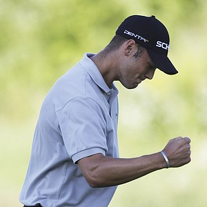 Martin Kaymer reacts to a par putt on the 18th hole during the final round of the PGA Championship.