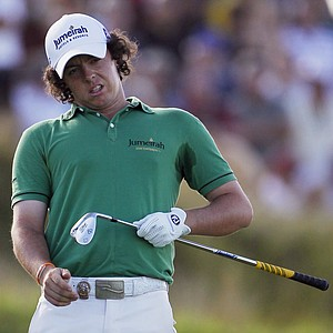 Rory McIlroy of Northern Ireland reacts to a shot on the 16th hole during the final round of the PGA Championship.
