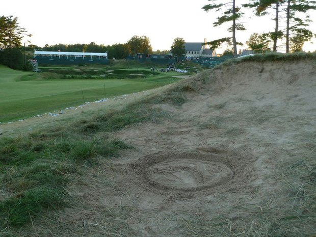 Dustin Johnson played his second shot on the 18th hole from this bunker.