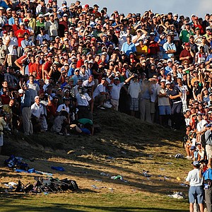 Dustin Johnson hits from a bunker of the 72nd hole of the PGA Championship.
