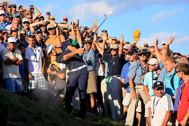 """""""Walking up and seeing the shot, never once did it cross my mind it was in a sand trap,"""" Johnson said. """"I just thought it was on a piece of dirt the crowd had trampled down. Never thought it was a sand trap. I looked at it a lot, never once thought it was a bunker."""" - Dustin Johnson on his second shot on No. 18, where he was penalized for grounding his club in a bunker. Johnson would have made a 3-way playoff for the PGA Championship, but instead watched Martin Kaymer beat Bubba Watson in the playoff."""