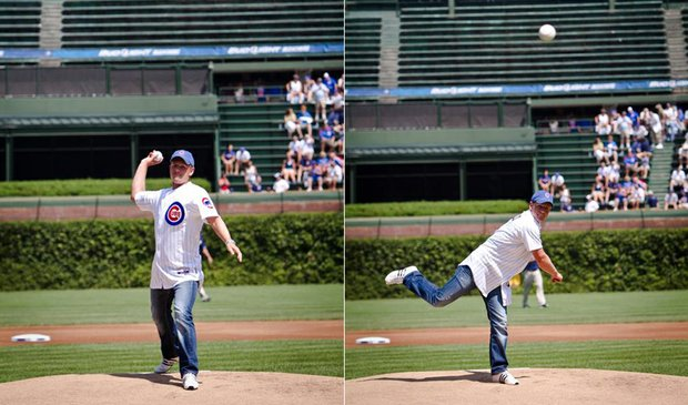 Luke Donald throws the first pitch at a Chicago Cubs game.