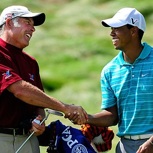 Steve Williams and Tiger Woods during the PGA Championship.