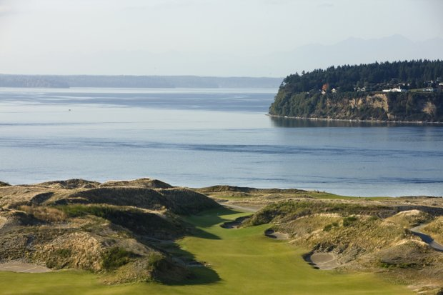 The 10th hole at Chambers Bay in University Place, Wash.