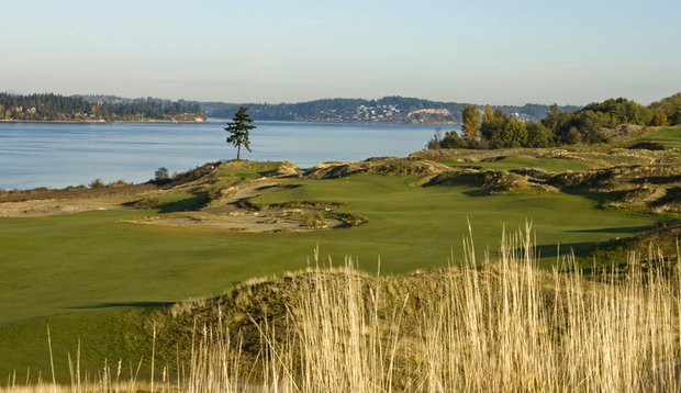 The second hole at Chambers Bay in University Place, Wash.