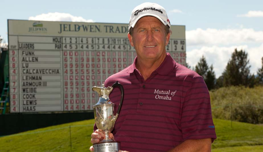 Fred Funk edged Michael Allen by one shot to win his second Jeld-Wen Tradition title.