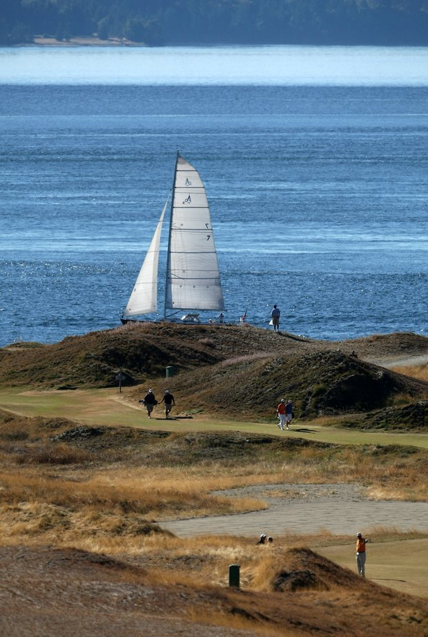 A view of Pugent Sound from 18th fairway during the 110th U.S. Amateur Championship at Chambers Bay.