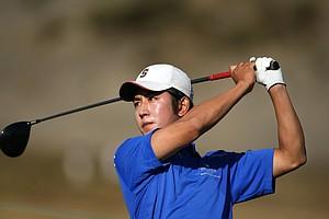 David Chung watches his tee shot at No. 1.