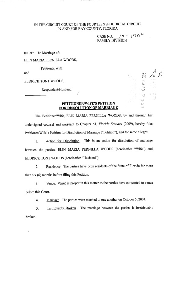 A court document provided by the Bay County Florida Clerks Office from the divorce of Tiger Woods and Elin Nordegren.