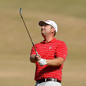 Skip Berkmeyer hits a shot during the Round of 64. Berkmeyer defeated Conrad Shindler 2 up.