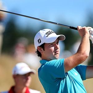 Ryan McCarthy of Australia hits his tee shot at No. 6. McCarthy defeated Daniel Bowden 5 & 4.