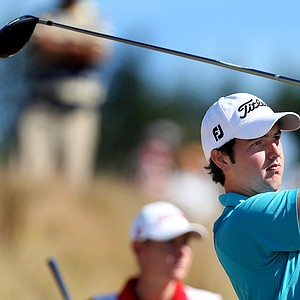 Ryan McCarthy of Australia hits his tee shot at No. 6. McCarthy defeated Daniel Bowden 5 & 4.