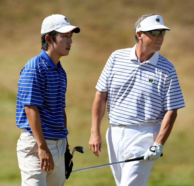 David Chung (left) and Mike McCory during the Round of 64 at the U.S. Amateur.