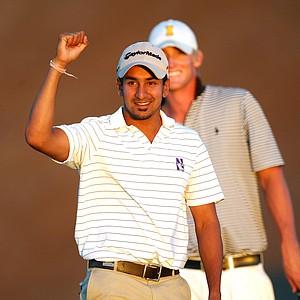 Ravi Patel celebrates at the ninth hole at Chambers Bay.