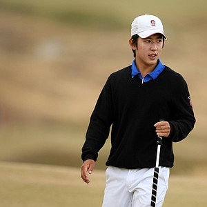David Chung smiles after his putt at No. 12, he defeated Skip Berkmeyer 4 & 3 during the Round of 32.