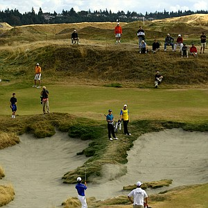 David Chung hits out of a bunker at No. 15 during the Round of 16. Chung defeated Brad Benjamin, 2 & 1.