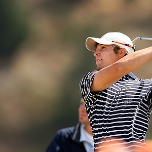 Peter Uihlein hits a shot during the second round of match play at the U.S. Amateur.