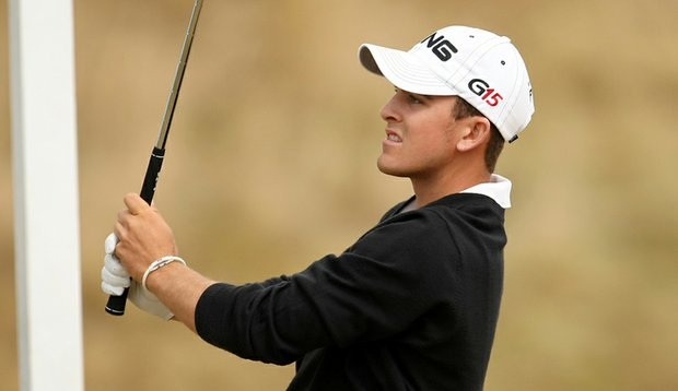 Scott Langley follows a shot during his match against Patrick Reed.