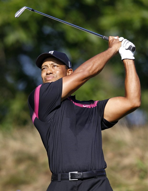Tiger Woods during Round 1 of The Barclays.