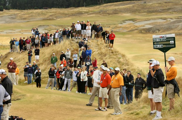 Spectators line up along No. 6 to watch the Peter Uihlein vs. Morgan Hoffmann match during quarterfinals of the 110th U.S. Amateur. Uihlein defeated his Okalahoma State teammate 1 up.