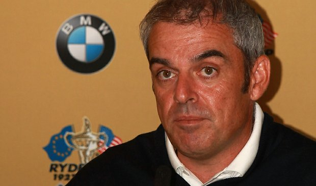 Paul McGinley speaks to reporters at a press conference for the 2010 Ryder Cup
