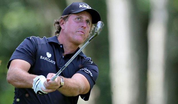 Phil Mickelson during the second round of The Barclays.