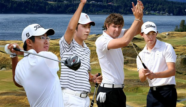 (From left) Byeong-Hun An, David Chung, Peter Uihlein and Patrick Cantlay have advanced to the semifinals of the U.S. Amateur Championship.