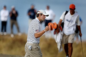 Peter Uihlein reacts to a putt during the semi finals.