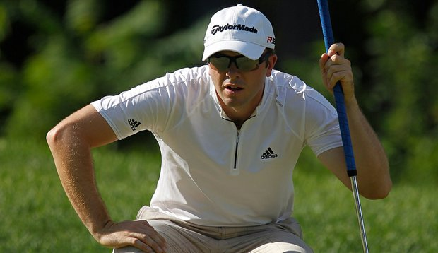 Martin Laird lines up a putt on the 14th green during the third round of The Barclays.