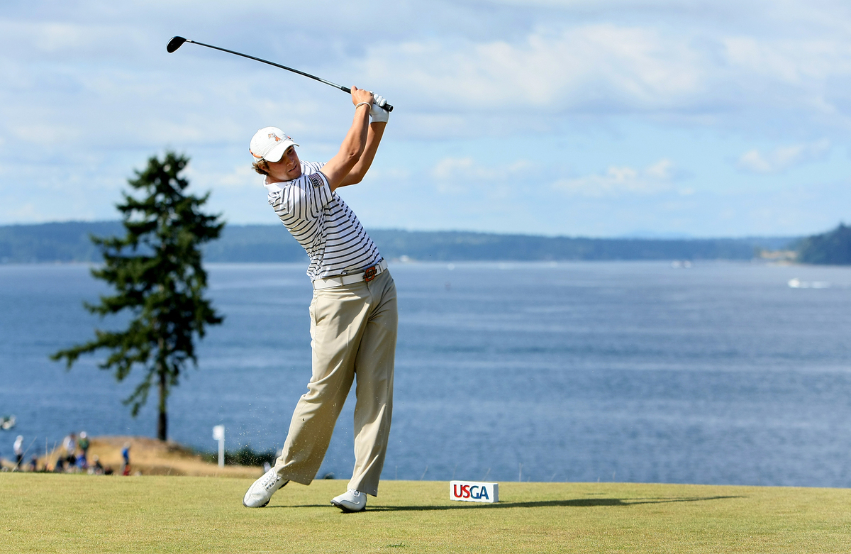 Peter Uihlein advanced to the final match at the U.S. Amateur after beating Patrick Cantlay, 4 and 3.