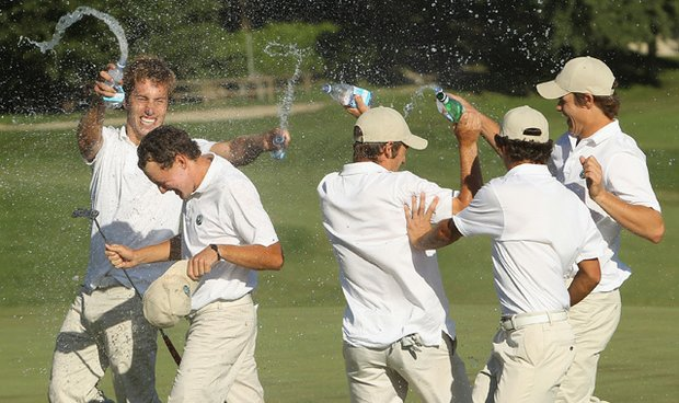 The Continent of Europe team celebrates after winning the St. Andrews Trophy at the Castelconturbia Golf Course on Aug. 28, 2010.
