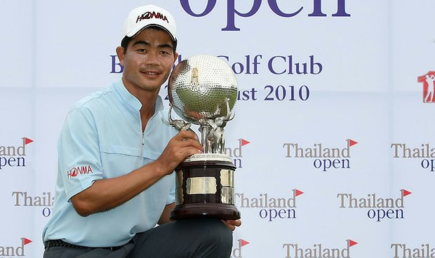 Liang Wen-chong of China celebrates his success at the 2010 Thailand Open.