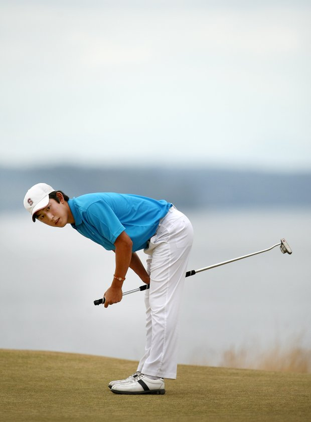 David Chung reacts to missing his putt at No. 15 during the second round of the finals.