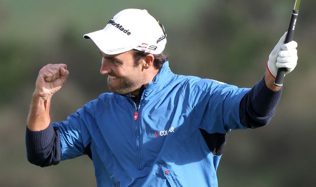 Edoardo Molinari of Italy celebrates victory in the 2010 Johnnie Walker Championship at Gleneagles in Auchterarder, Scotland.