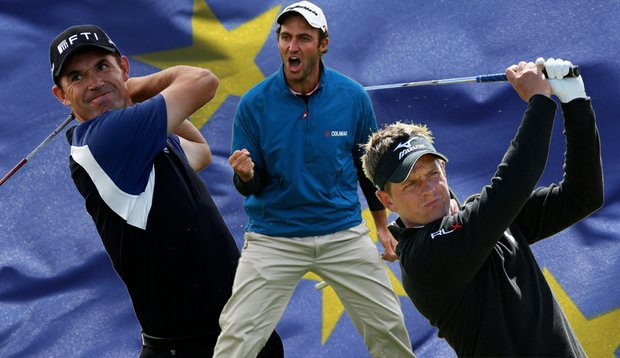 From left, Padraig Harrington, Edoardo Molinari and Luke Donald were chosen to the European Ryder Cup team.