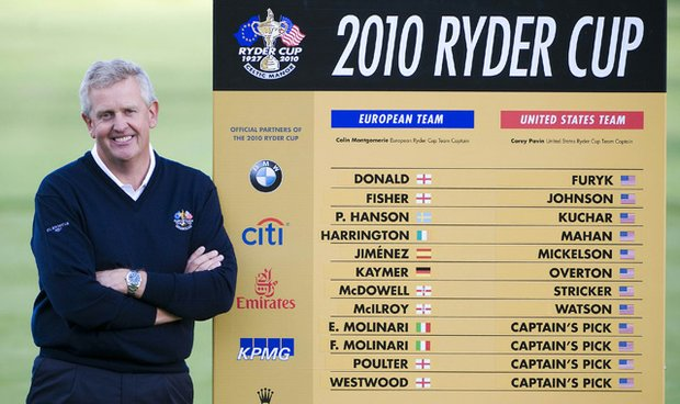 Ryder Cup captain Colin Montgomerie announces his 12-man team Aug. 29, 2010, at Gleneagles in Scotland.