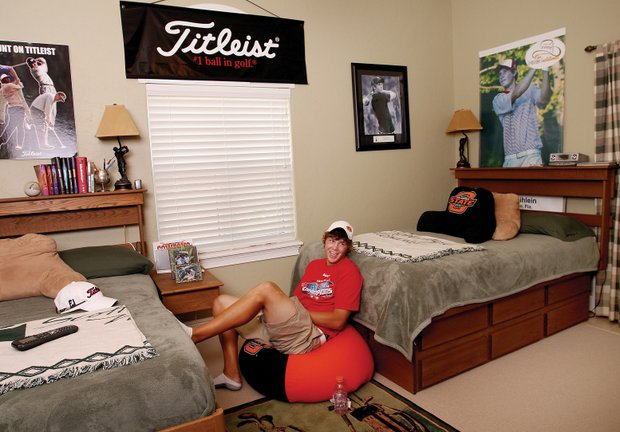 Peter Uihlein hangs out in his bedroom in his Bradenton condo. (2008)