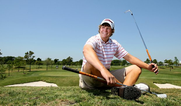 Peter Uihlein relaxes on the range at the David Leadbetter Golf Academy in Bradenton, Fla. (2008)
